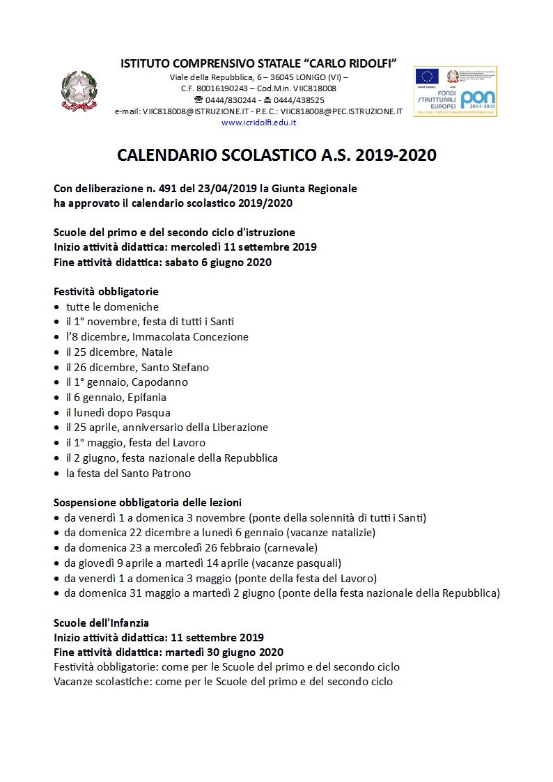 Calendario Da Settembre 2019 A Giugno 2020.Istituto Comprensivo Carlo Ridolfi Calendario Scolastico